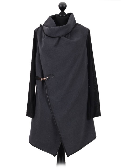 Italian Wool Wrap Over Coat with Gold Buckle Detail charcoal