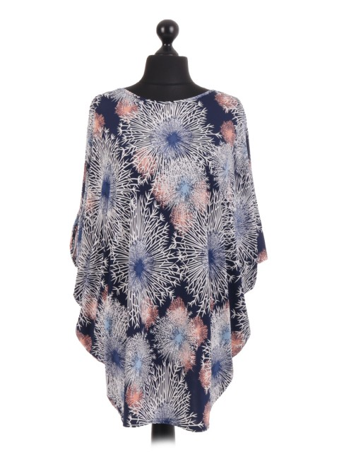 French Snowflake Print Batwing Tunic