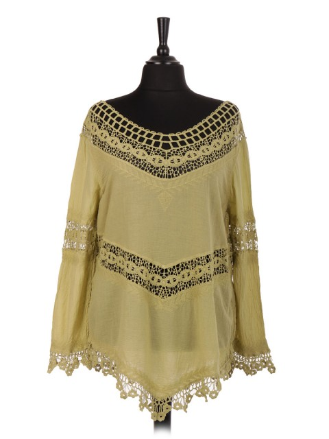 Italian Cotton Lace Panel Top