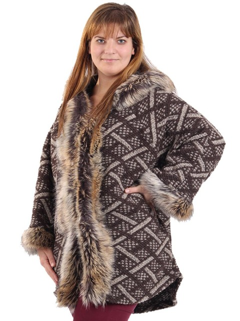 adies Woollen Faux Fur Hooded Coat Brown Side
