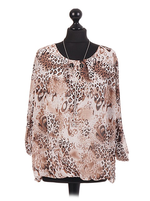 Animal Print Chiffon Necklace Top