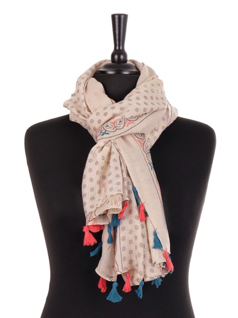 Aztec Print Scarf With Tassels