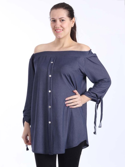 Bardot Off Shoulder Front Button top-Navy