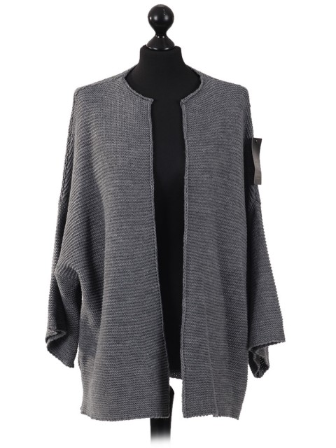 Batwing Wool Mix Open Front Cardigan Grey