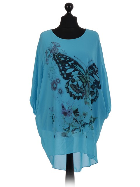 Italian Buttefly Batwing Chiffon Tunic Dress