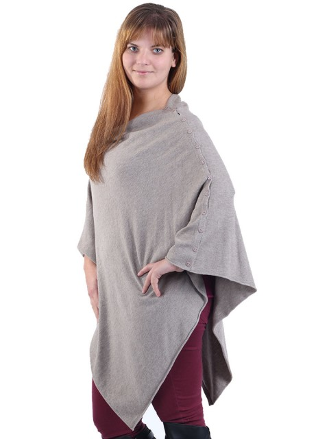 Cashmere Mix Poncho Beige Side
