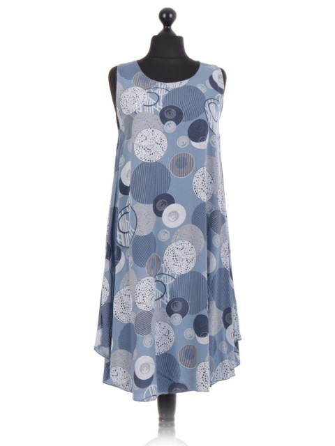 Italian Circle Print Sleeveless Dress