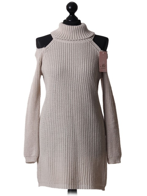 Italian Turtle Neck Cold Shoulder Knitted Top Beige