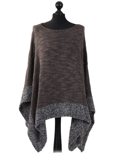 Ladies Wool Mix Contrast Border Poncho grey