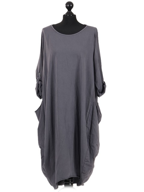 Plain Cotton Lagenlook Dress Charcoal