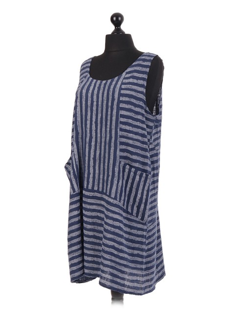 Italian Cotton Stripy Sleeveless Dress