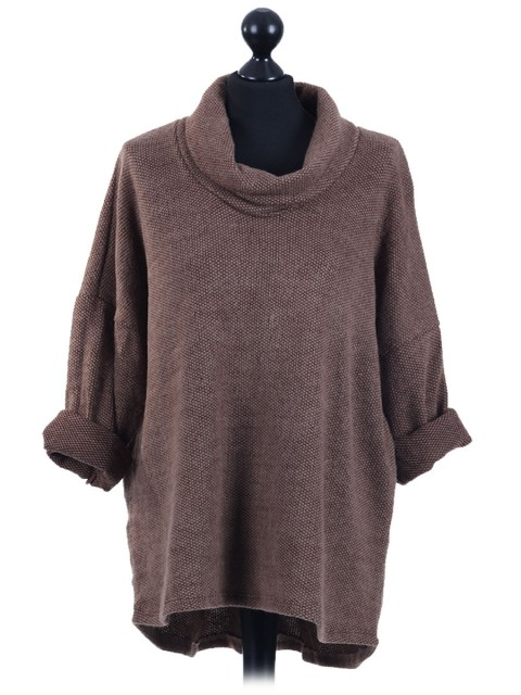 Italian Cowl Neck Top Brown