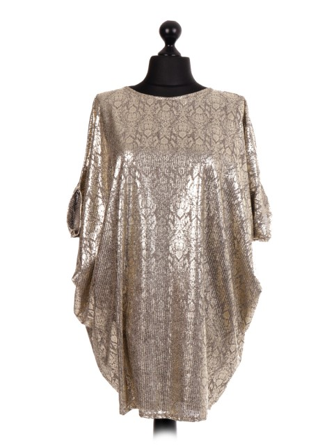 Damask Pattern Batwing Top - Metallic Print