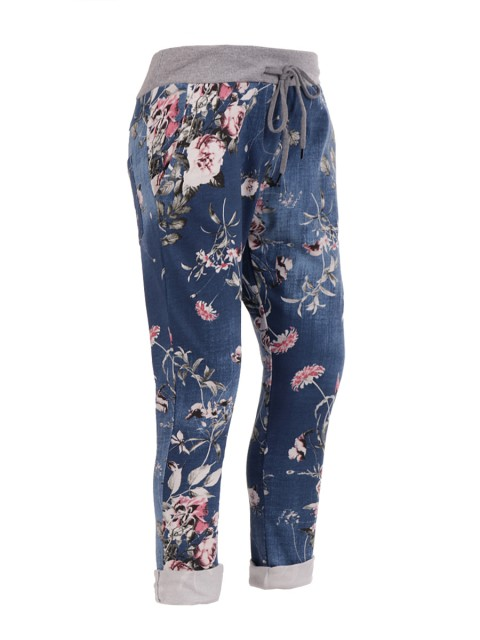 Italian floral print trousers - denim
