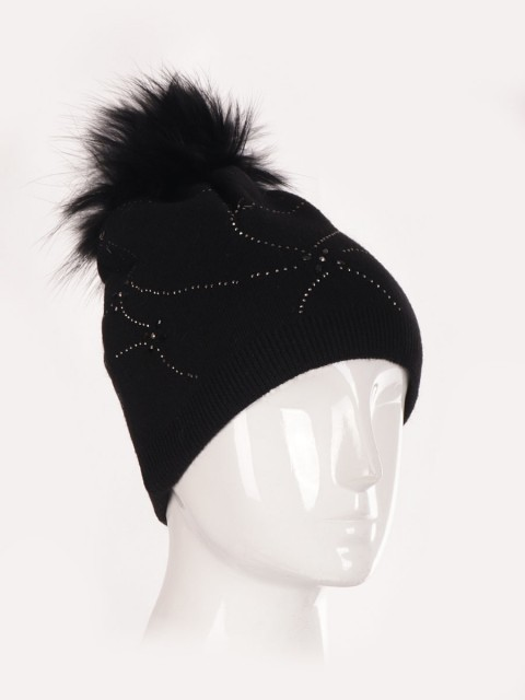Diamante Detail Pom Pom Hat