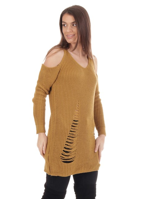 Distressed Cold Shoulder Chunky Knit Jumper