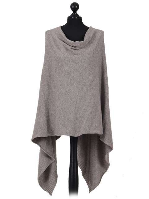 Italian Ladies Drop Neck Poncho mocha