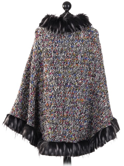 Italian Faux Fur Wool Poncho Multi