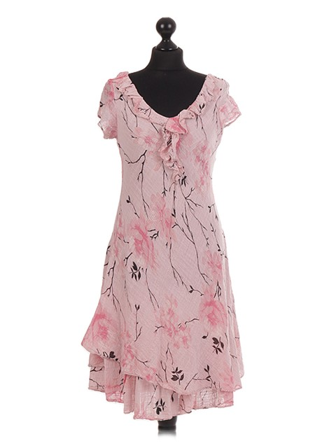 Italian Floral Printed Layered Frilled Dress