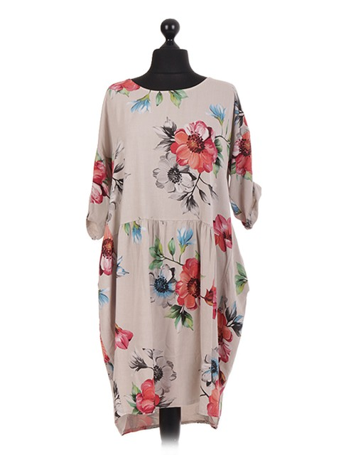 Floral Printed Gathered Panelled Oversized Dress