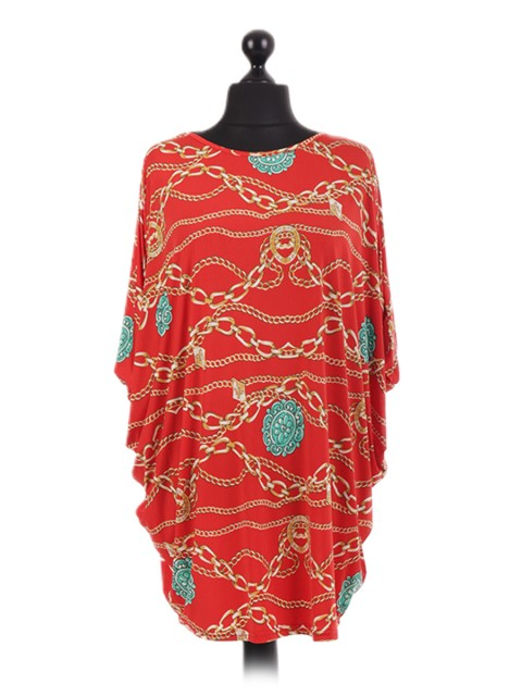 French Chain Print Batwing Tunic