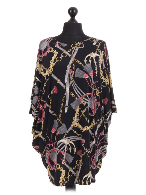French Chain Tassle Print Batwing Tunic