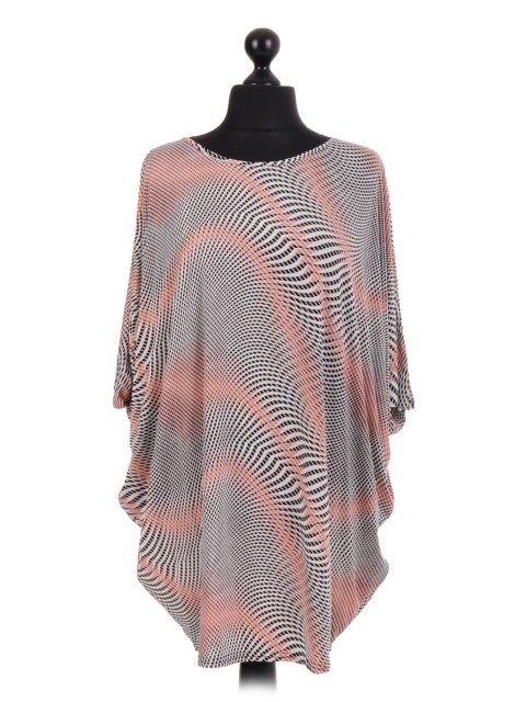 French Diamond Print Batwing Tunic