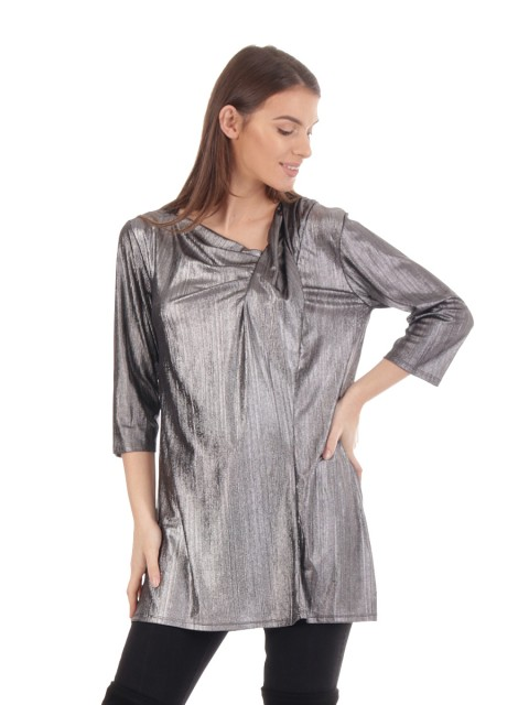 Gathered Metallic Tunic Top Silver