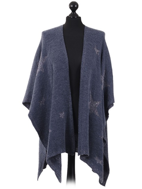Ladies Glitter Star Pattern Knitted Cape blue