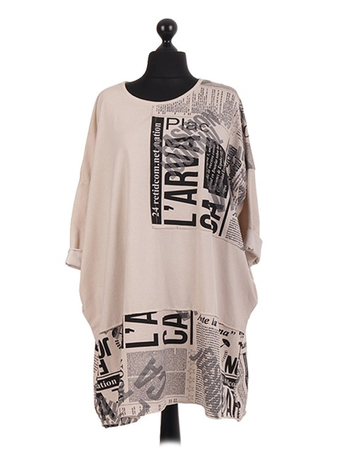 Graphic Patch Oversized CottonTunic