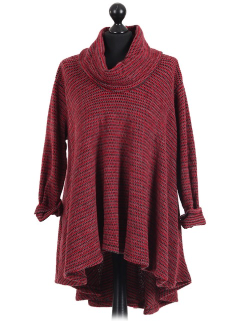 Italian Cowl Neck High Low Knitted Tunic Top Red