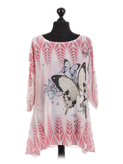 Italian Turn Up Sleeve Butterfly Print Tunic