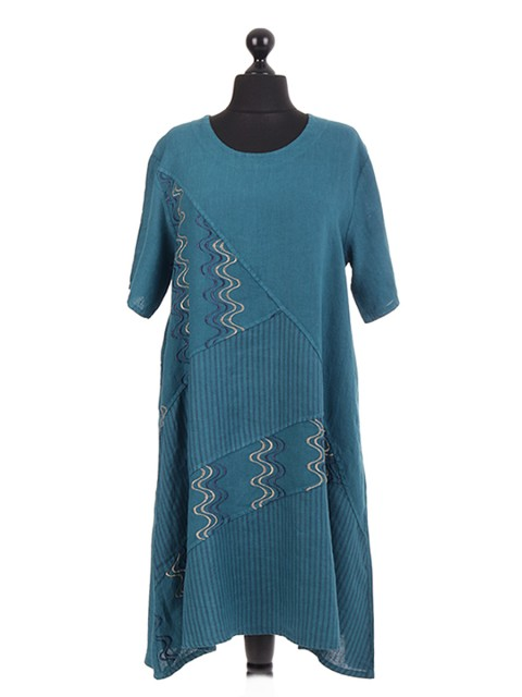 Italian Linen Embroidery Stripe Panel Dress