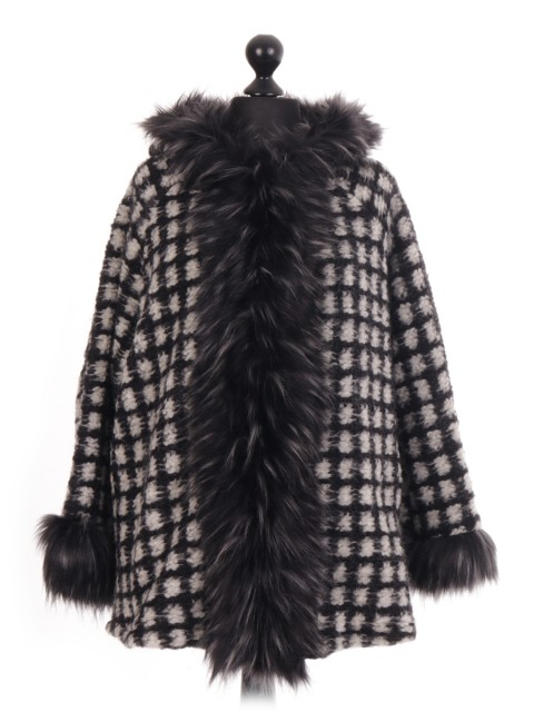 Italian - Check Faux Fur Trim Jacket