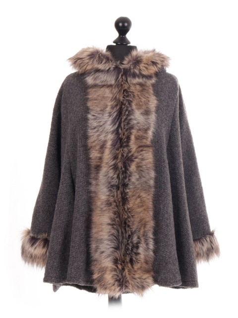 Italian Faux Fur Hooded Cape Jacket