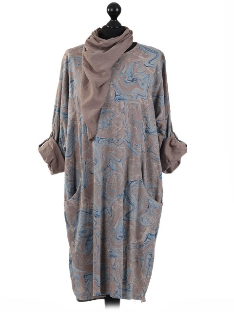 Italian Abstract Print Front Pocket Pleated Dress with Scarf-Brown