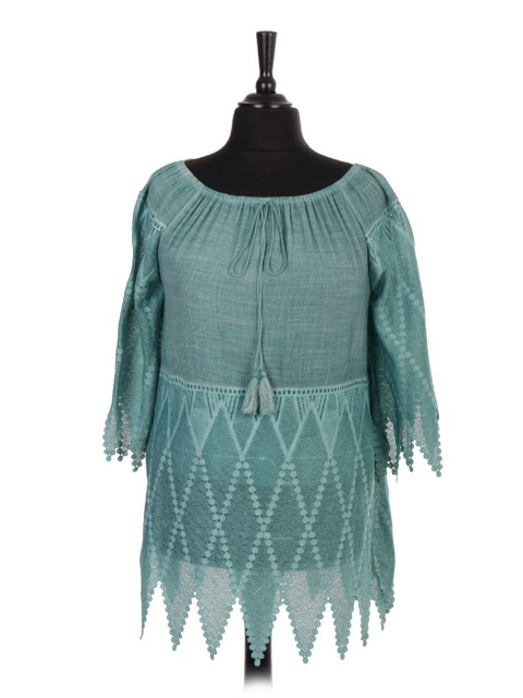 Italian Acid Dye Embroidered Tassel Tie Top