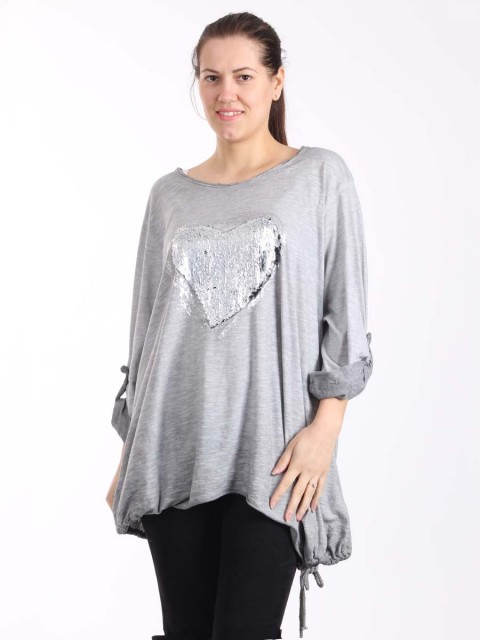 Italian Acid Dye Sequin Heart Top With Tie Hem-Grey 1