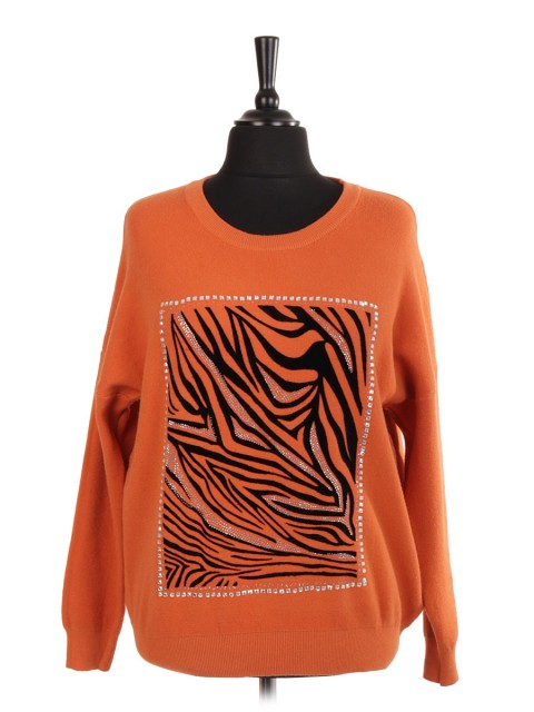 Italian Animal Pattern Jumper With Stud and Diamante Detail