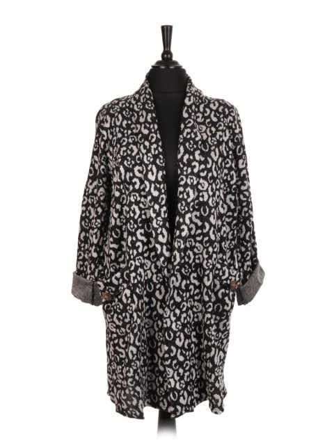 Italian Animal Print Cardigan With Front Pocket