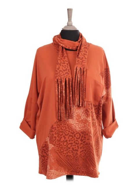 Italian Animal Print Patch Top With Front Pocket And Scarf