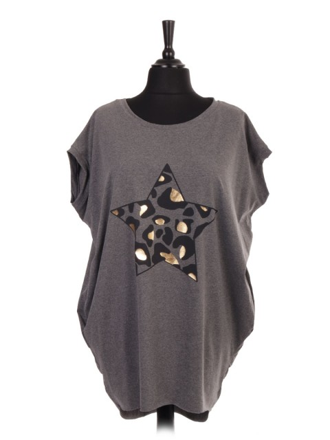 Italian Animal Print Star Print Dip Hem Batwing Top with Side Pockets