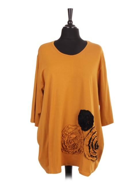 Italian Applique Flower Tunic Top