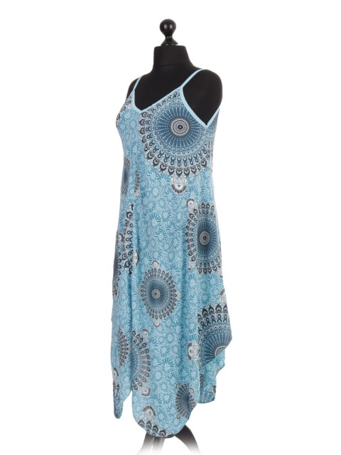 Italian Aztec Printed Dress With Fluid Handkerchief Hem
