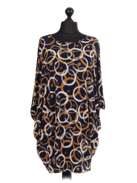 Circle Print Batwing Top - Color Navy