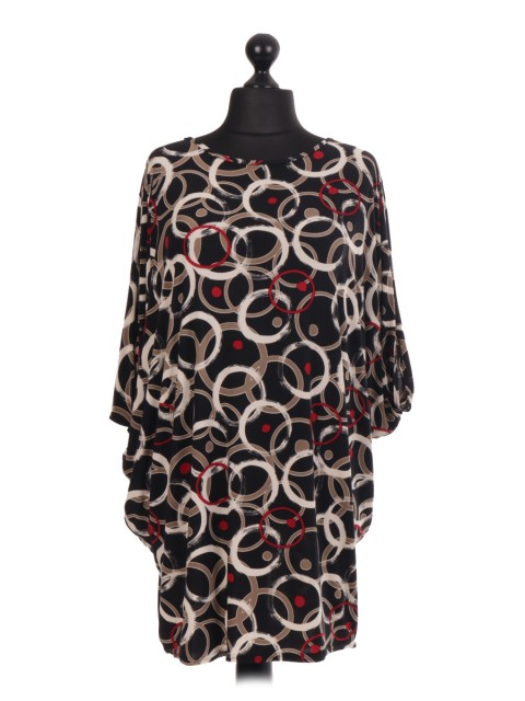 Circle Print Batwing Top TP18 - Color Black