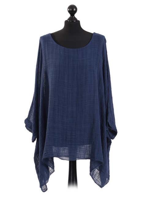 Italian Batwing Sleeves Plain Linen Tunic Top-Navy