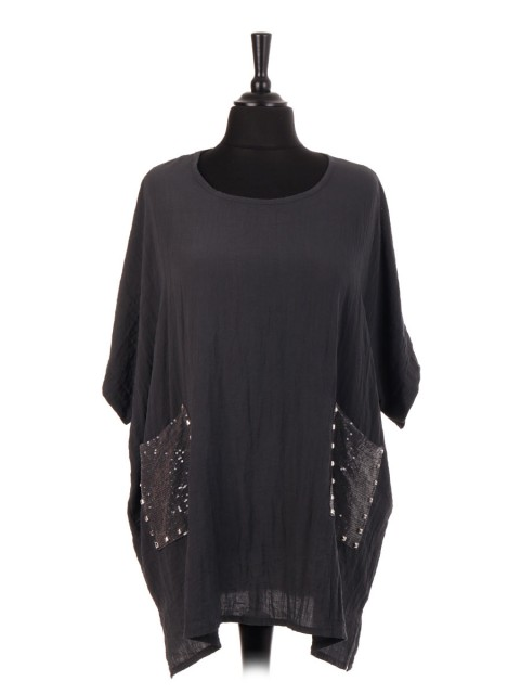 Italian Batwing Top With Rockstud Sequin Pockets