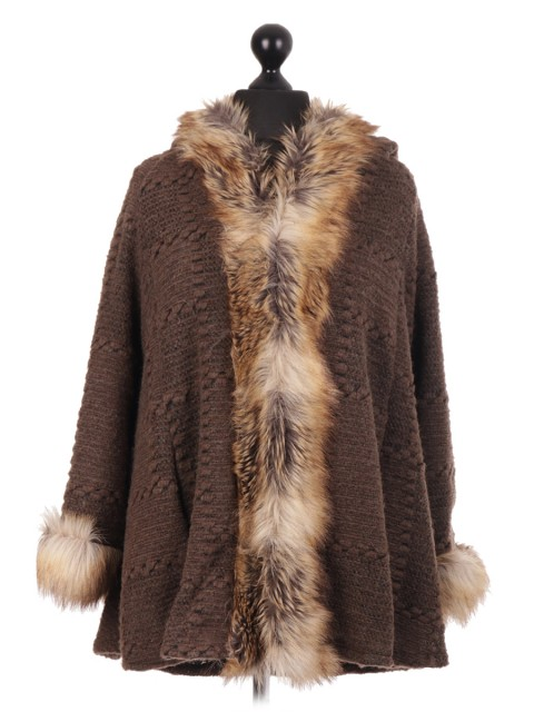 Italian Brown Textured Fur Hooded Cape Jacket