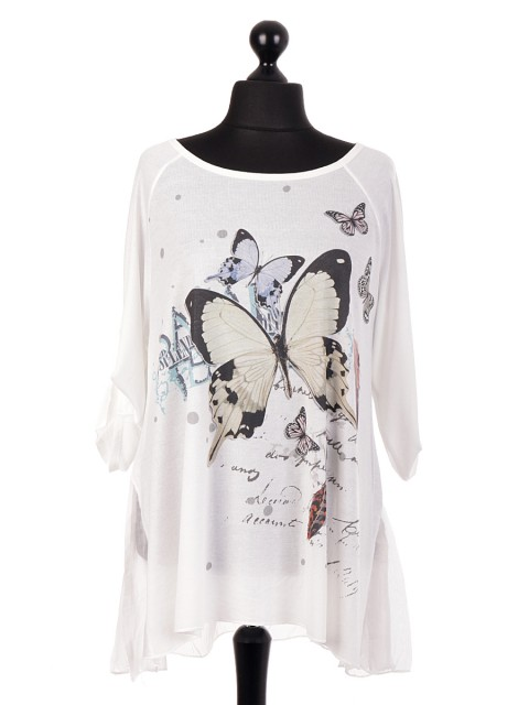 Italian Butterfly Print Tunic Top With Chiffon Hem